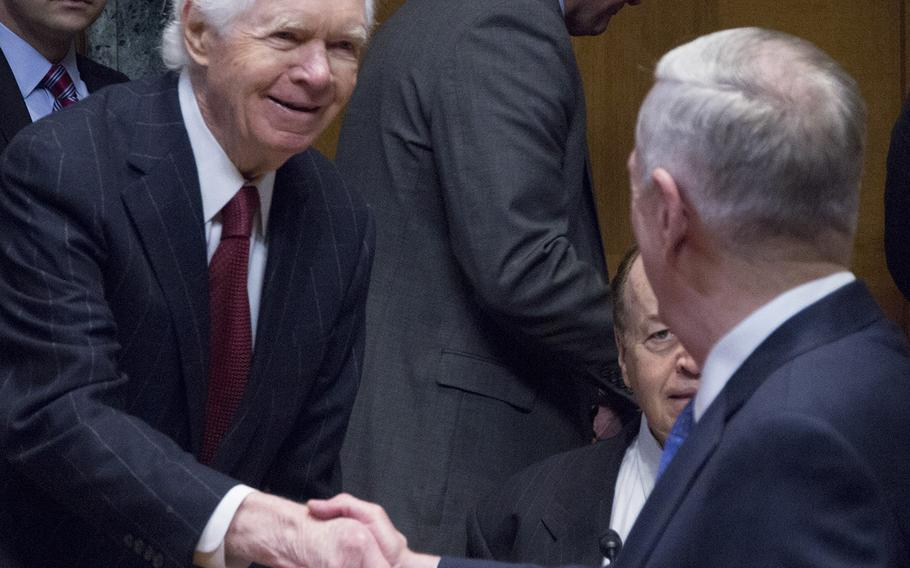 Senate Appropriations Committee Chairman Thad Cochran, R-Miss., shakes hands with Secretary of Defense Jim Mattis before a hearing on Capitol Hill, March 22, 2017.
