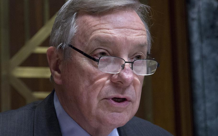 Senate Appropriations Committee Ranking Member Dick Durbin, D-Ill., speaks during a Capitol Hill hearing, March 22, 2017.