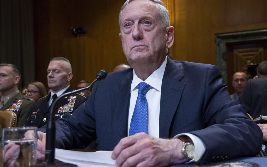 Secretary of Defense Jim Mattis waits for the opening gavel at a Senate Appropriations Committee hearing on Capitol Hill, March 22, 2017.