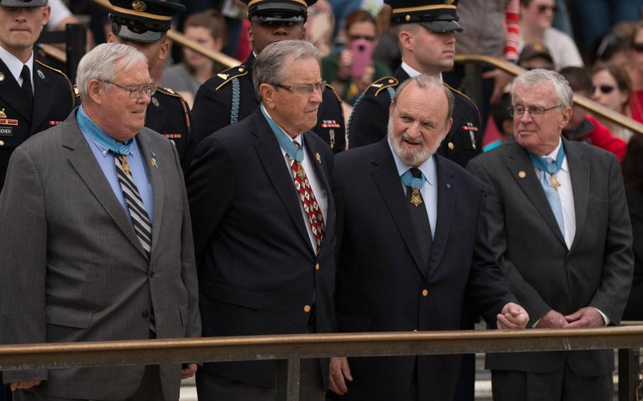 More than 20 Medal of Honor recipients gathered at the Tomb of the Unknown Soldier at Arlington National Cemetery for a wreath-laying ceremony in commemoration of National Medal of Honor Day, held Saturday, March 25, 2017.