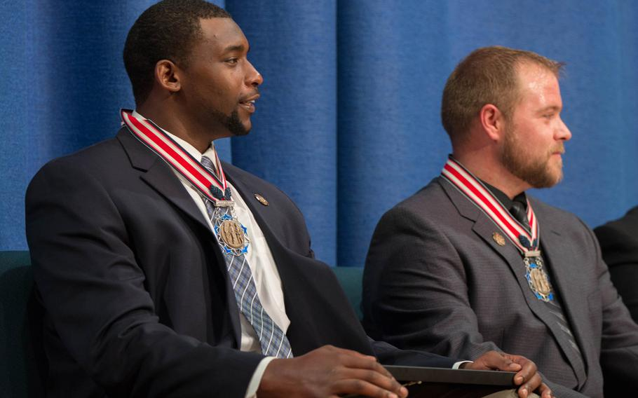 Jacob Ellis and Adam Brunk received the Citizens Honors Award, the highest given by the Congressional Medal of Honor society, for saving the lives of vehicle accident victims on Aug. 21, 2016.