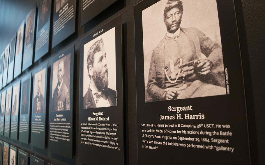 An inside look at the military section at the National Museum of African American History in Washington, D.C., on March 28, 2017. Shown here are profiles in the Medal of Honor section.