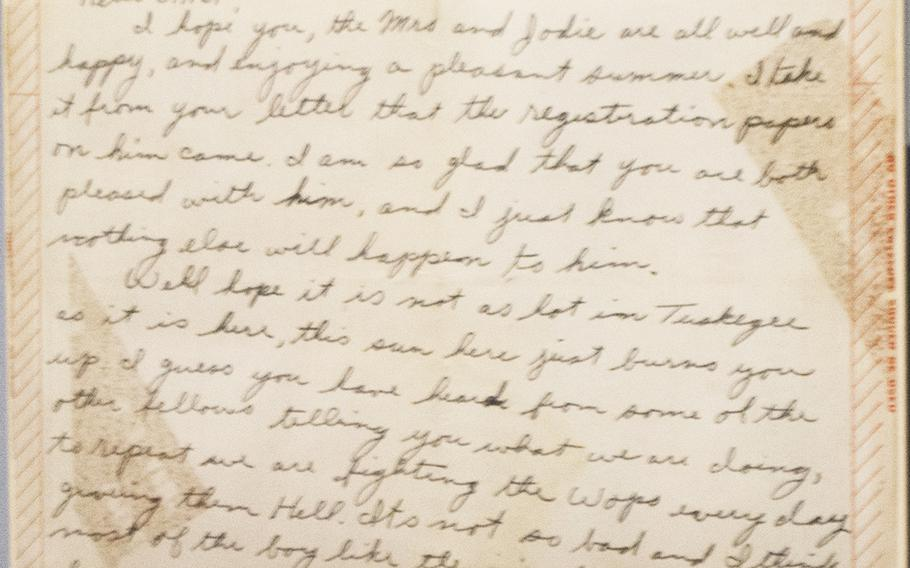 A letter written by then-Lt. Samuel M. Bruce, a Tuskegee Airman, on July 4, 1943, that mention two pilots who were missing: Lt. Sherman White Jr. and Lt. James McCullin. Neither returned from a July 2 mission and would later be identified as the first black pilots killed. Bruce was killed in action over a year later, on Jan. 27, 1944. An inside look at the military section at the National Museum of African American History in Washington, D.C., on March 28, 2017.