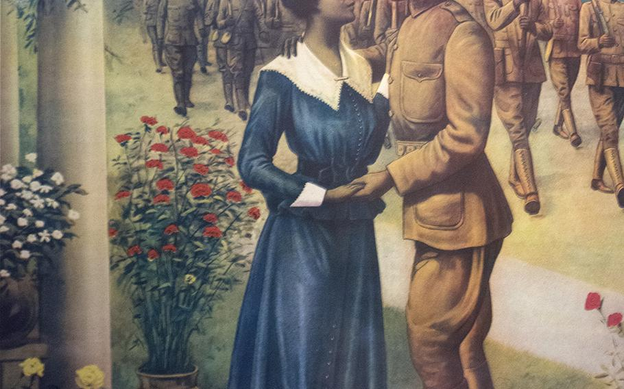 An inside look at the military section at the National Museum of African American History in Washington, D.C., on March 28, 2017. This is a World War I recruiting poster encouraging black men to enlist.