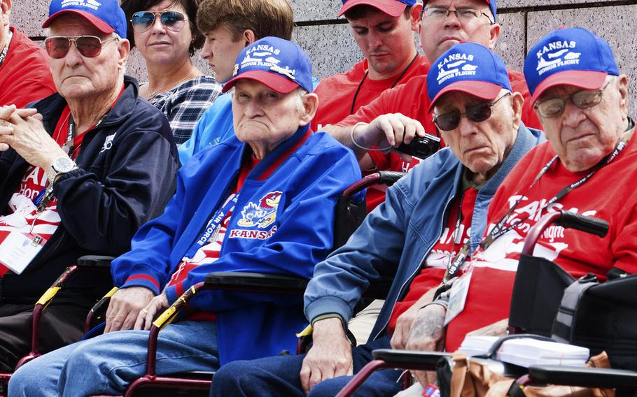 The Battle of the Coral Sea 75th Anniversary Commemoration at the World War II Memorial in Washington, D.C., on May 4, 2017. Kansas Honor Flight veterans watch the ceremony.