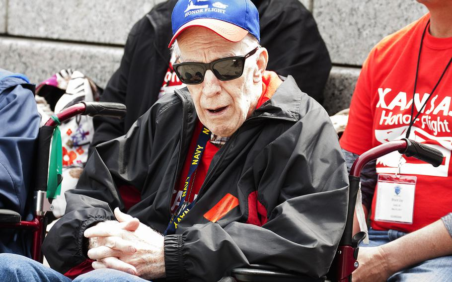 The Battle of the Coral Sea 75th Anniversary Commemoration at the World War II Memorial in Washington, D.C., on May 4, 2017. A veteran from the Kansas Honor Flight watches the ceremony.