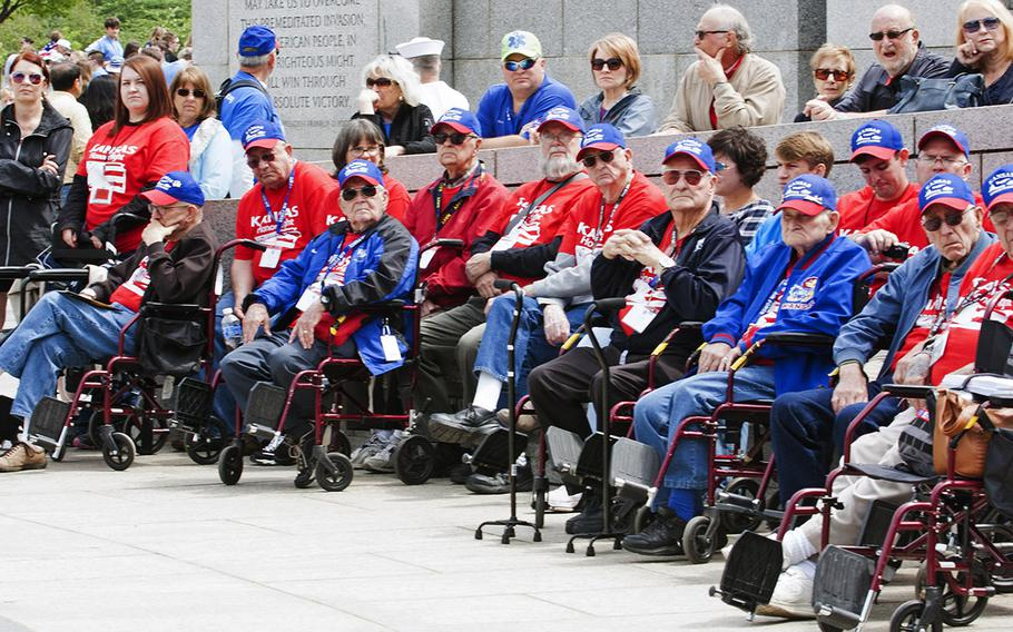 The Battle of the Coral Sea 75th Anniversary Commemoration at the World War II Memorial in Washington, D.C., on May 4, 2017. The Kansas Honor Flight watches the ceremony.
