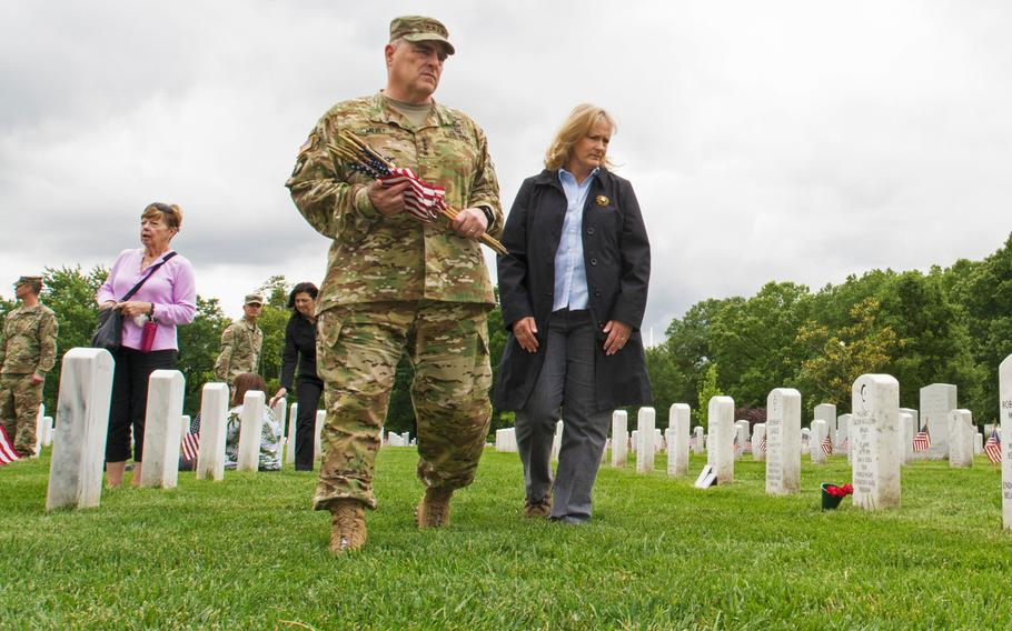 Army Chief of Staff Gen. Mark Milley at Arlington National Cemetery during Flags In on May 25, 2015.