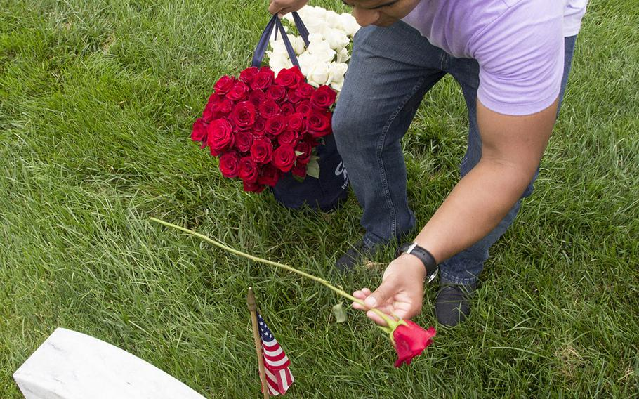 Sgt. Fermin Sandoval of Quantico-based er Squdron One places a rose at an Arlington National Cemetery grave during an event organized by the Memorial Day Flowers Foundation on Sunday, May 28, 2017.