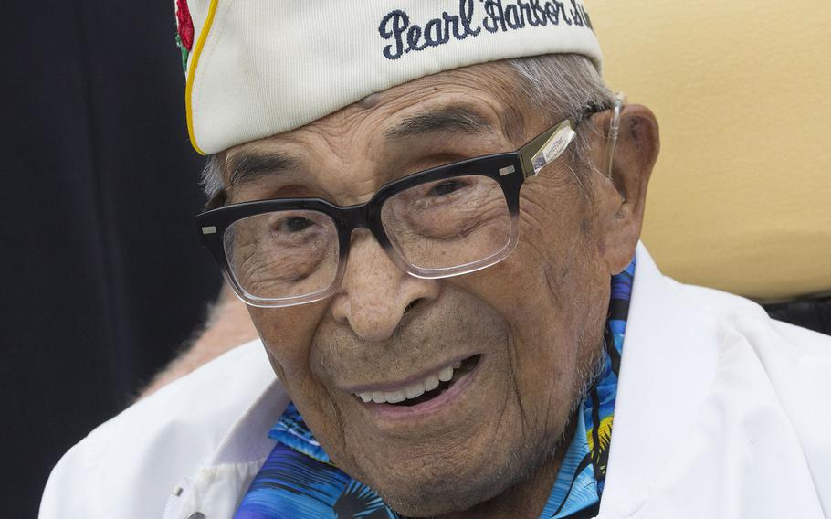 105-year-old World War II veteran Raymond Chavez, the oldest living survivor of the attack on Pearl Harbor, poses for a photo after the Memorial Day ceremony at the National World War II Memorial in Washington, D.C., May 29, 2017.
