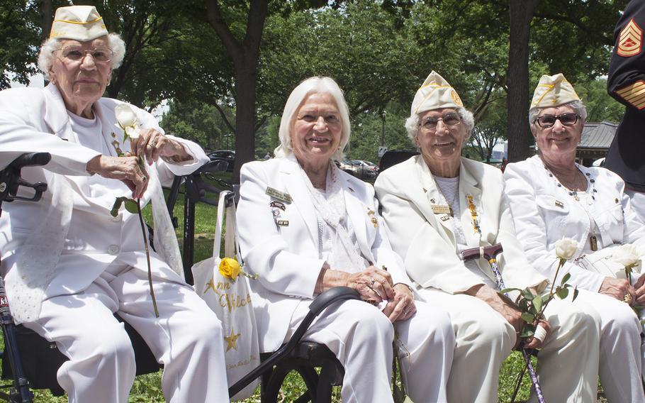 Gold Star Mothers - and all former presidents of American Gold Star Mothers Inc. - from left to right, Emogene Cupp, Ann Wolcott, Terry Davis (Gold Star mother, wife and sister), and Georgie Carter Krell (mother of Bruce Carter, Medal of Honor recipient).