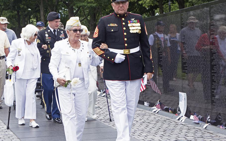 Gold Star Mothers walk at the start of the Vietnam Wall Memorial Day ceremony on May 29, 2017.
