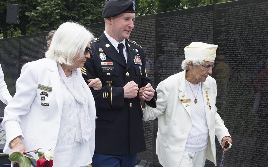 Gold Star Mother's walk at the start of the Vietnam Wall Memorial Day ceremony on May 29, 2017.