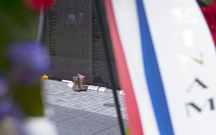 Boots at the Vietnam Wall on Memorial Day, May 29, 2017.