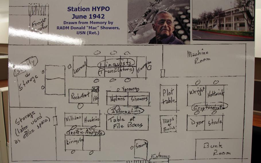 This diagram of the office layout of Station Hypo was drawn from memory by Rear Adm. Donald Showers, who served as a member of the code-breaking team during World War II. Showers died in 2012.