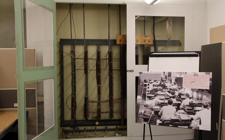 """One of the few remaining relics from the code-breaking days of Station Hypo during World War II is this switchboard, through which Japanese messages were distributed daily to the analysts working in the Building I basement, dubbed the """"dungeon"""" by the secretive team."""