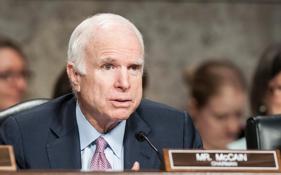 Chairman of the Senate Armed Services Committee Sen. John McCain, R-Ariz., grills Defense Secretary Jim Mattis during a hearing on Tuesday, June 13, 2017, on Capitol Hill on Washington, D.C.