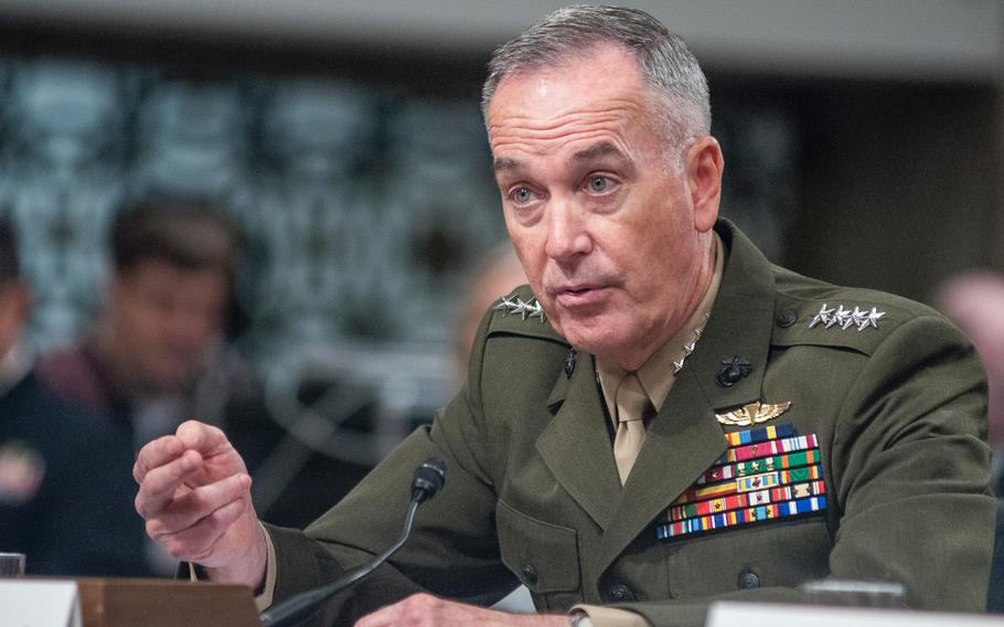 Chairman of the Joint Chiefs of Staff Gen. Joseph Dunford testifies during a Senate Armed Services Committee hearing on Capitol Hill in Washington, D.C., on Tuesday, June 13, 2017.