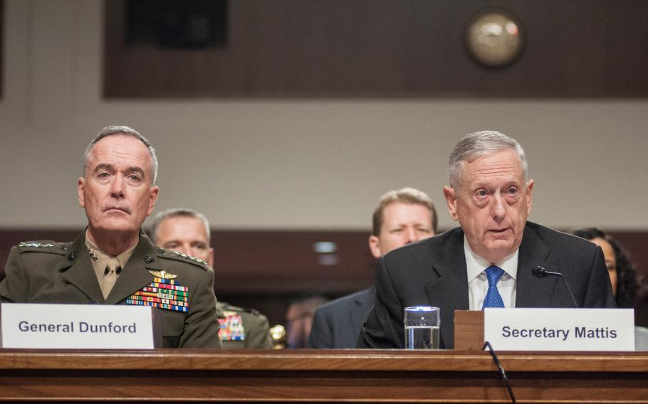 Defense Secretary Jim Mattis and Chairman of the Joint Chiefs of Staff Gen. Joseph Dunford appear before the Senate Armed Services Committee on Tuesday, June 13, 2017, during a hearing on Capitol Hill in Washington, D.C. In answer to some pointed questions about the U.S. military's strategy in Afghanistan, Mattis said the White House should have its revised Afghan strategy by July.
