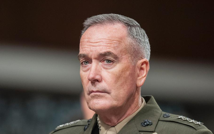 """Chairman of the Joint Chiefs of Staff Gen. Joseph Dunford attends a Senate hearing on June 13, 2017. According to reports on Thursday, July 27, Dunford said in a memo to military leaders that """"there will be no modifications"""" to current transgender policy for now, amid recent announcements on the subject by President Donald Trump."""