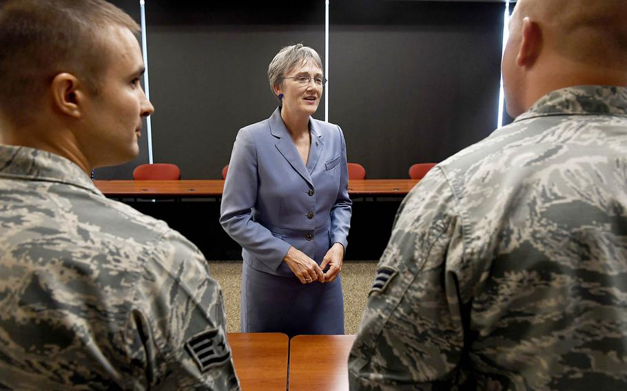 Secretary of the Air Force Heather Wilson speaks to airmen in Reno, Nevada, July 25, 2017.