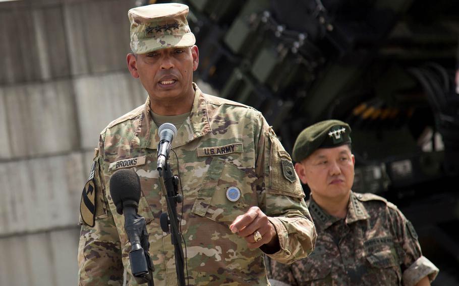 Gen. Vincent Brooks, commander U.S. Forces Korea, speaks to reporters at Osan Air Base, South Korea, Tuesday, Aug. 22, 2017.
