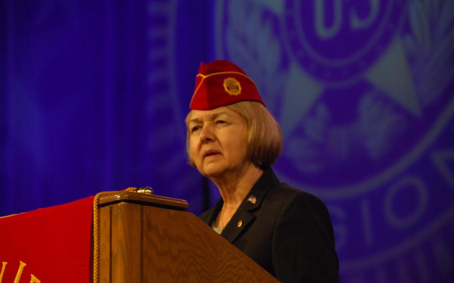 New American Legion National Commander Denise Rohan addresses thousands of veterans at the group's national convention in Reno, Nev. on Thursday, Aug. 24.