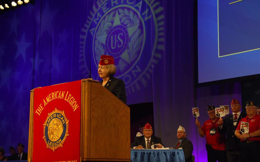 Denise Rohan addresses American Legion members for the first time after she was elected national commander of the organization Thursday, Aug. 24 in Reno, Nev.