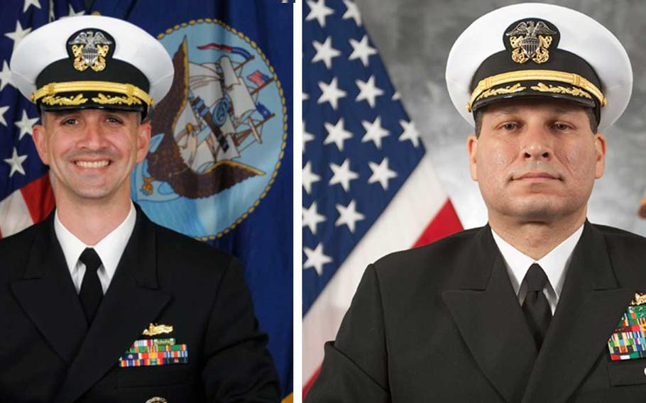 The USS John S. McCain's commanding officer, Cmdr. Alfredo J. Sanchez, left, and executive officer, Cmdr. Jessie L. Sanchez were relieved of duty due to a loss of confidence in their ability to lead, according to a Navy statement.