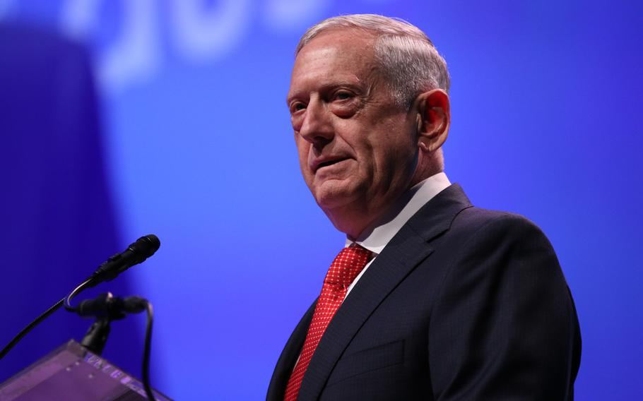 Defense Secretary Jim Mattis addresses the crowd at the opening ceremony of the 2017 Association of the U.S. Army Meeting and Exposition held in Washington, D.C., on Oct. 9, 2017.
