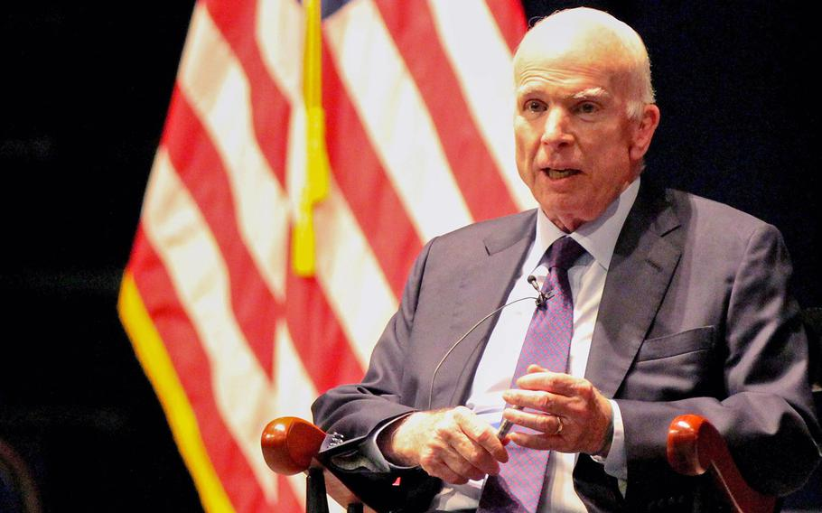 Sen. John McCain, R-Ariz., addressed a crowd of  Midshipmen and distinguished guests at the United States Naval Academy on Monday, Oct. 30, 2017. The Arizona senator talked about service to country and leadership during a nearly 20-minute speech. McCain graduated from the Naval Academy in 1958.