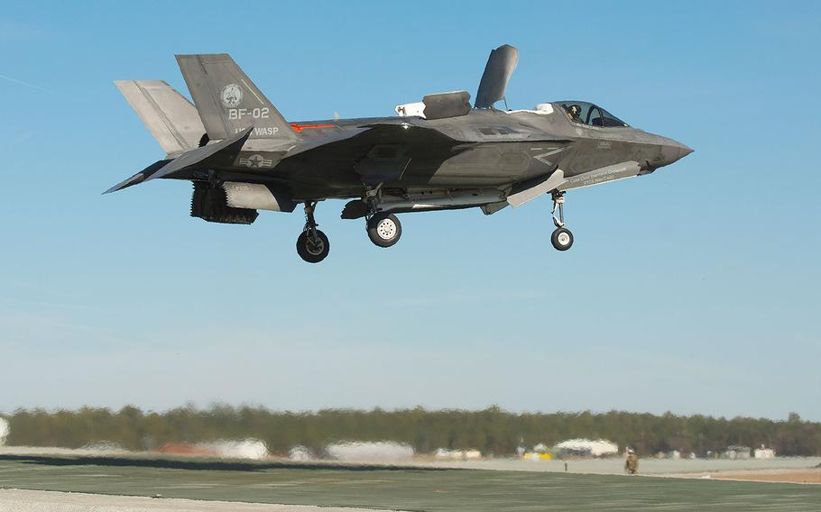 Pilot Peter Wilson tests vertical landings in an F-35B on a sloped pad at Marine Corps Auxiliary Landing Field Bogue, North Carolina, Jan. 16, 2018.