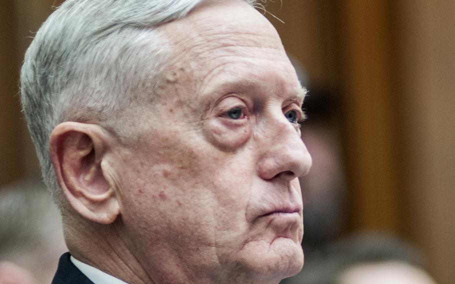 """Secretary of Defense Jim Mattis attends a hearing on Capitol Hill in Washington, D.C., on Feb. 6, 2018. While on a flight from Europe on Feb. 17, Mattis noted that too many srevicemembers are deploying too often because others cannot. That's not fair to able-bodied members or to their families, he said, adding """"The bottom line is we expect everyone to carry their share of the load."""""""