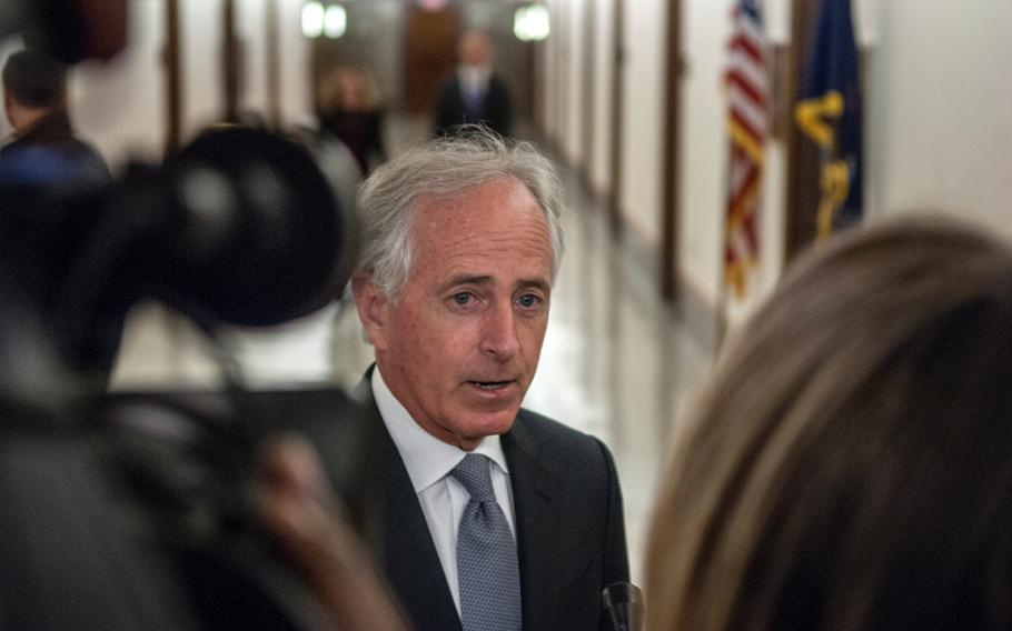 Senate Foreign Relations Committee Chairman Sen. Bob Corker, R-Tenn., answers questions just prior to a hearing on Capitol Hill in Washington, D.C., on Tuesday, March 13, 2018.