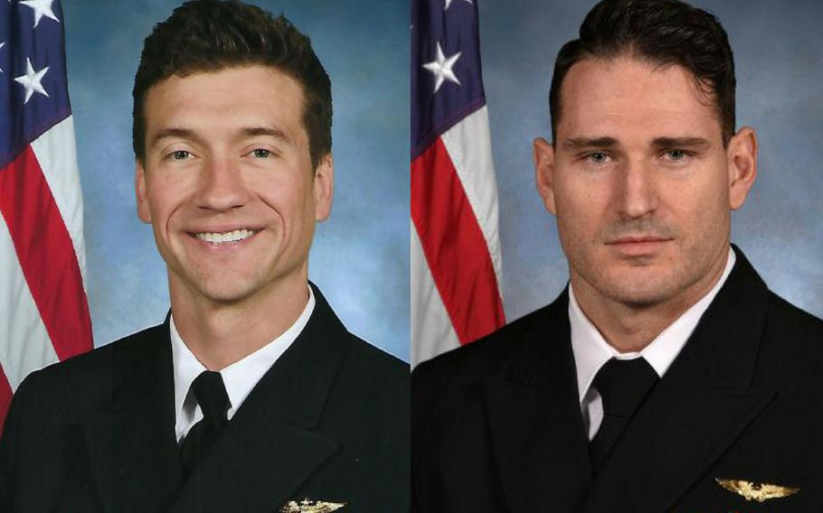 Lt. Cmdr. James Brice Johnson, left, and Lt. Caleb Nathaniel King died when their F/A-18F Super Hornet crashed near Key West, Fla., March 14, 2018.