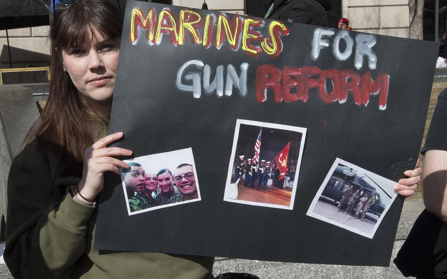 Marine Corps veteran Cristine Pedersen, 26, a student at Georgetown University, at the March for Our Lives in Washington, D.C. on March 24, 2018.