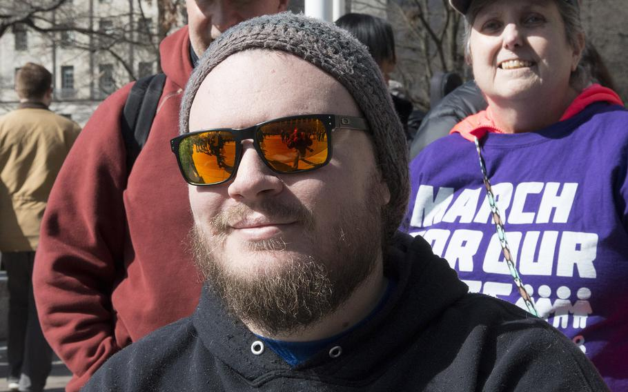Marine Corps veteran Steven Kiernan, 30, of Fredericksburg, Va., at the March for Our Lives in Washington, D.C. on March 24, 2018.