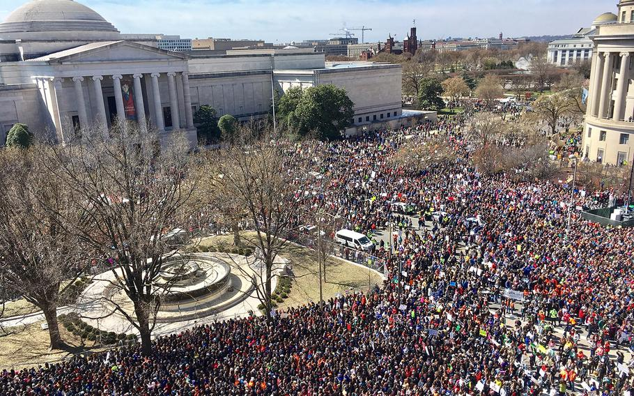 A view from the roof of the Newseum during the March for Life in Washington, D.C. on March 24, 2018.