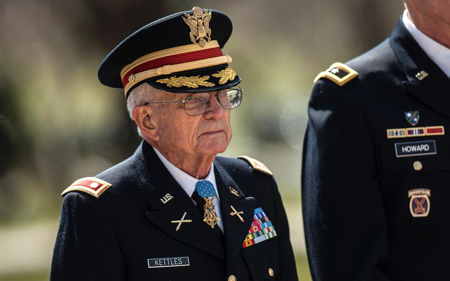 Medal of Honor recipient Charles Kettles arrives for a wreath laying ceremony at Arlington National Cemetery's Tomb of the Unknowns on Friday, March 23, 2018. Kettles was among more than two dozen MOH recipients who attended the commemorative event, which was part of the annual National Medal of Honor Day.