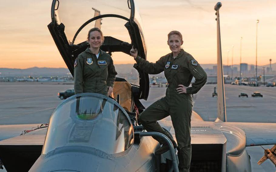 Brigadier General Jeannie Leavitt, 57th Wing Commander, helped actress Brie Larsen with her research for her role in Marvel's first movie focused on a solo female star.