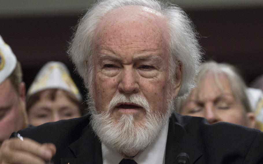 """John Rowan of Vietnam Veterans of America, shown here at a March, 2018 hearing, described Rear Adm. Ronny Jackson as an """"unknown quantity."""""""