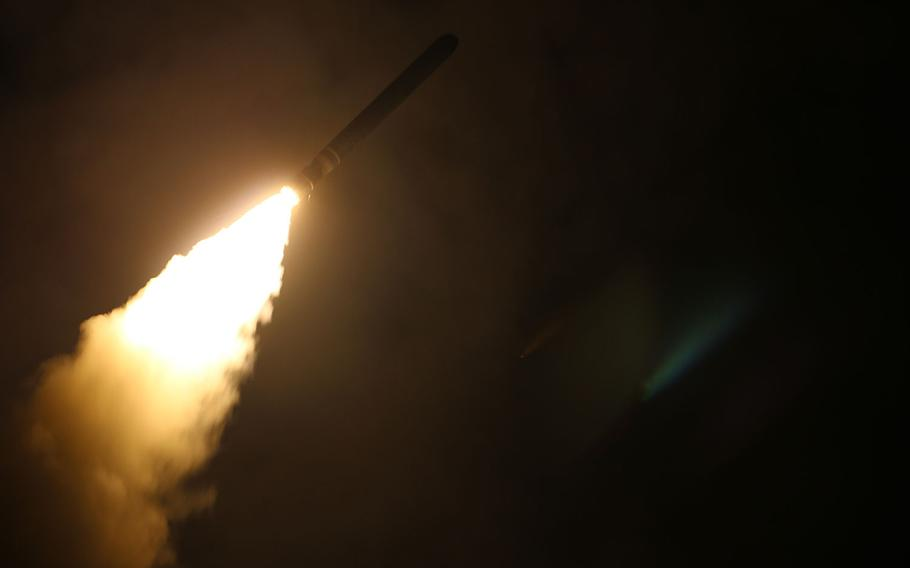 The guided-missile cruiser USS Monterey (CG 61) fires a Tomahawk land attack missile April 14, 2018. American, British and French air and sea forces launched 105 missiles at three Syrian facilities about 4 a.m. local time, destroying a key chemical weapons research and manufacturing facility in metropolitan Damascus and two chemical weapons stockpiles outside Homs