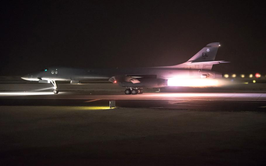 A B-1B Lancer aircraft departs from Al Udeid Air Base, Qatar, in support of the multinational response to Syria's chemical weapons use in April 2018.