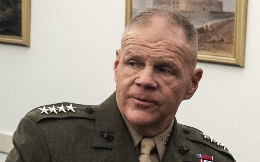 """Commandant of the Marine Corps Gen. Robert Neller, attends a hearing on Capitol Hill  in Washington, D.C., on March 7, 2018. In response to questioning on Thursday, April 19, before the Senate Armed Services Committee about a nude-photo sharing scandal involving Marines and sexual misconduct, Neller said, """"I give you my word that anyone who does violate the rules regardless of whether they are a general or a private, they are going to be held accountable."""""""