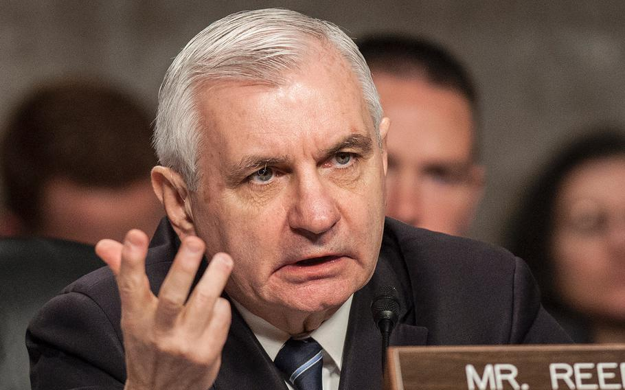 """The Senate Armed Services Committee's Ranking Democrat Jack Reed, D-R.I., asks questions during a hearing on Capitol Hill in Washington, D.C., on Jan. 25, 2018. During a hearing on April 19, Reed asked Marine Commandant Gen. Robert Neller if the Corps was doing enough to combat sexual misconduct. """"Are you addressing a culture that might be contributing to this issue?"""""""