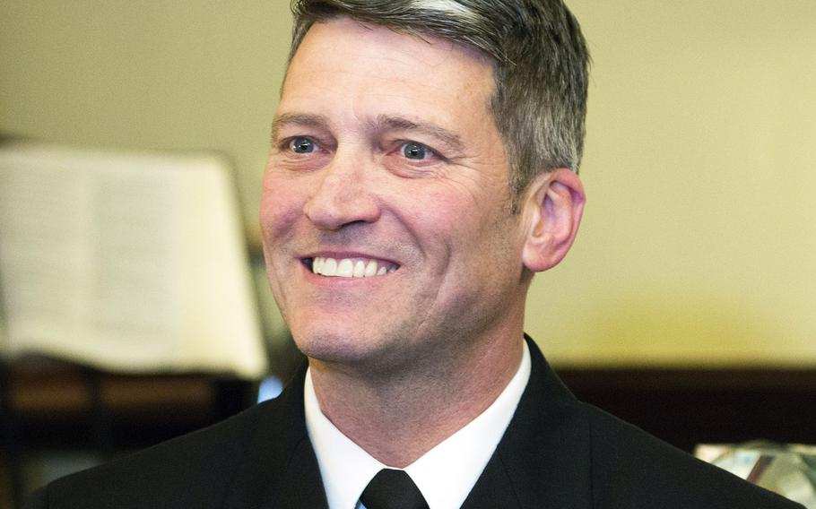 Rear Adm. Ronny Jackson, President Donald Trump's nominee to serve as Secretary of Veterans Affairs, during a meeting with Senate Veterans' Affairs Committee chariman Johnny Isakson, R-Ga., on April 16, 2018.