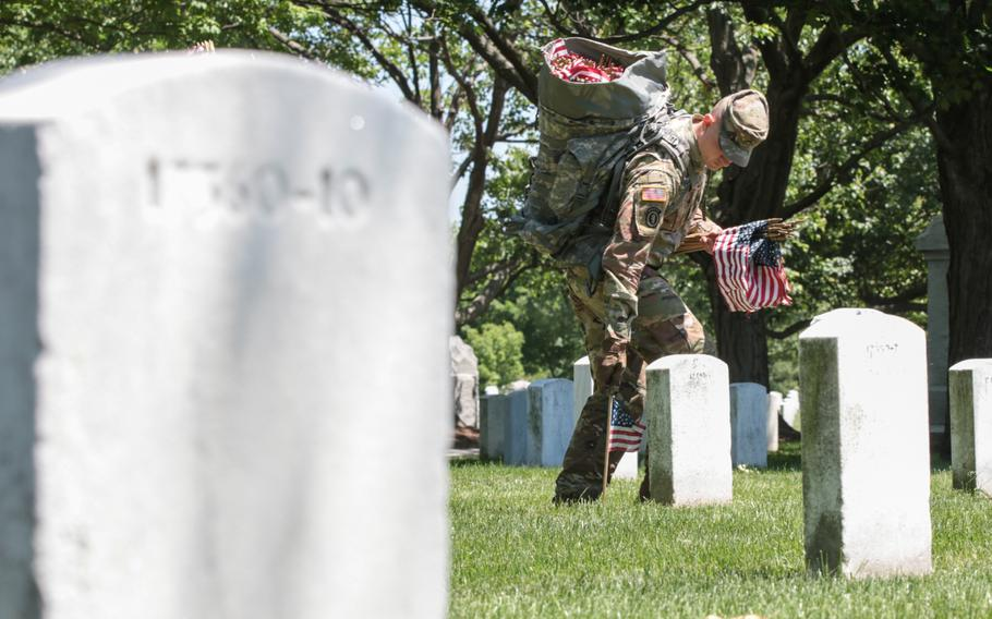 The U.S. Army's 3rd Infantry Regiment placed more than 200,000 flags on May 24, 2018, at graves throughout Arlington National Cemetery ahead of Memorial Day weekend.