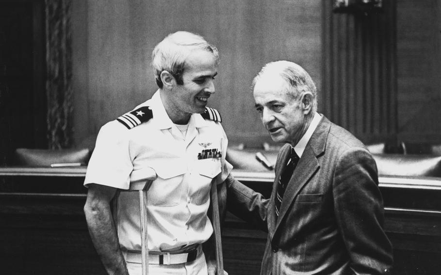 John McCain, left, with his father, Adm. John S. McCain Jr. after he was released from a North Vietnamese prison camp (1973).