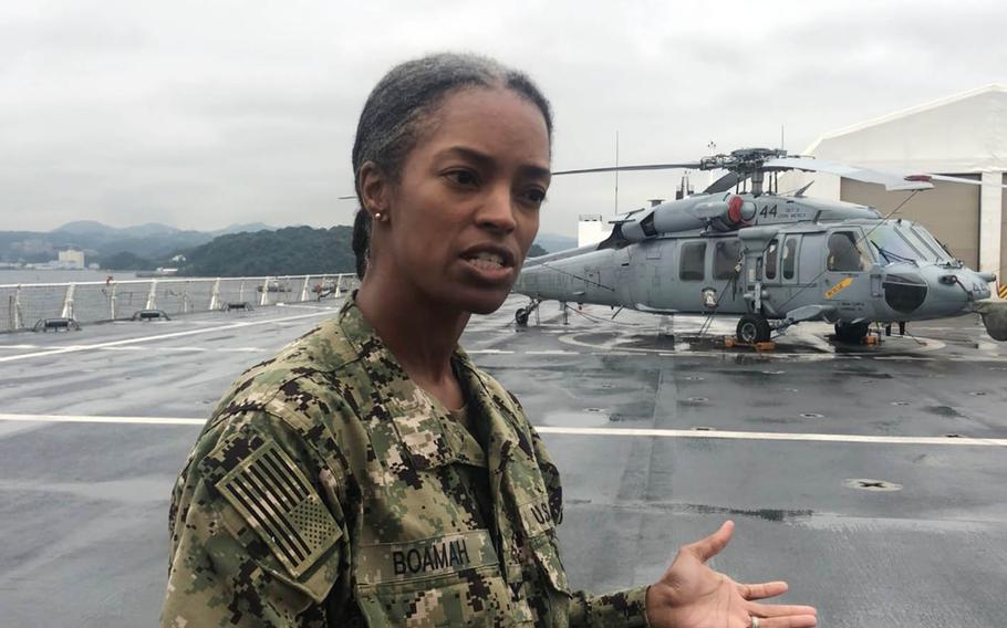 Capt. Lynelle Boamah, executive officer of the USNS Mercy, speaks aboard the hospital ship during its recent visit to Japan.