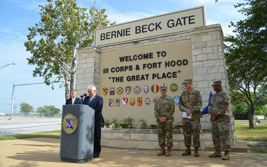 Rep. John Carter, R-Texas, speaks at a press conference about the services's new credential assistance education pilot program outside the Fort Hood main gate on Tuesday.